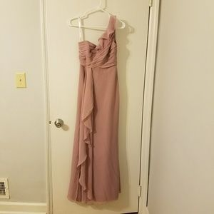 Lilac one shoulder ruffle gown size 0